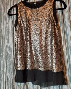Xhilaration XS Sheer Black Top with Gold Sequin